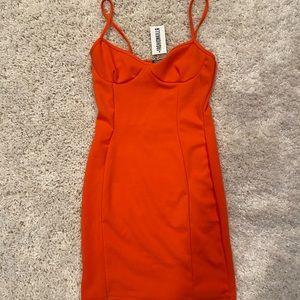 orange bodycon dress size US 6